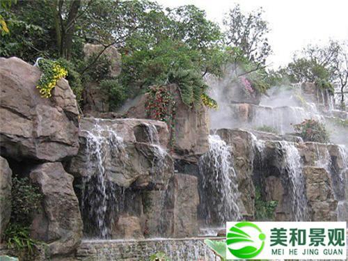 假山喷泉,假山瀑布,榕树,仿木树桩,仿木凉亭,仿木栏杆,仿木地坪,雕塑